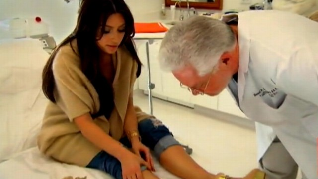 Kim Kardashian gets her psoriasis checked by her doctor.