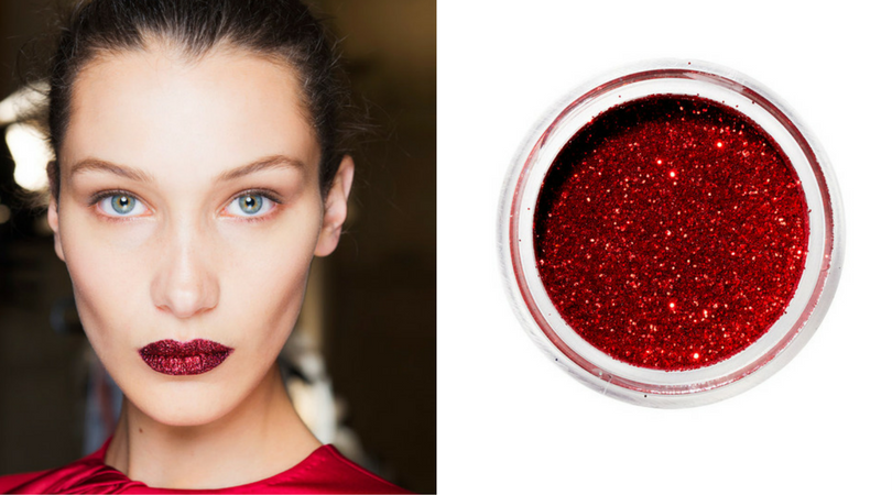 MEHRON PARADISE AQ GLITTER IN RED on Bella Hadid in InStyle